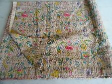 Indian beige paradise cotton kantha vintage quilt handmade twin bedspread throw