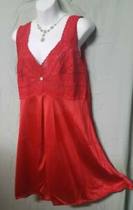 """Amoureuse Red  Babydoll Nightgown Knee Sexy Lace Large 48""""  Bust"""