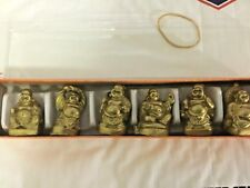 Gold Statues Small Chinese Feng Shui Garden 1 in Laughing Happy Buddha Set of 6