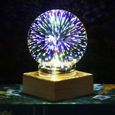 Fancy 3d Fireworks Night Light Glass Ball Bedside Desk Lamp Home Room Decor Gift