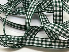 FULL ROLL 25M GREEN CHRISTMAS GINGHAM RIBBON, 10mm DECORATIONS, WREATHS, SEWING