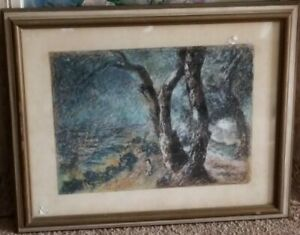 Fabulous American Modernist Pastel-1950's-Girl By Trees-Signed-Sleeper