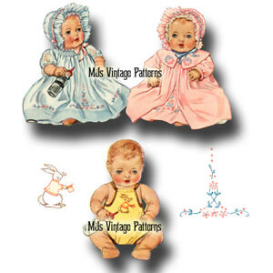 """1930s Vtg Doll Clothes Pattern Dress ~ 13"""" Dy Dee, Tiny Tears, Betsy Wetsy"""