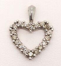 0.50 Ct Natural Diamond 14k Solid White Gold Heart Women's Charm Pendant