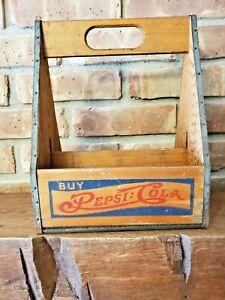 Vintage 1930's-40's Pepsi:Cola Double Dot Wooden 6 Pack Bottle Carrier