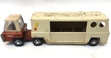 VINTAGE BUDDY L FARMS HORSE TRUCK AND TRAILER- PRESSED STEEL-1960'S- WHITE & RED