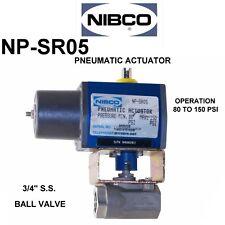 "NIBCO PNEUMATIC ACTUATOR NP-SR05 Operating a 3/4"" S.S. Ball Valve"