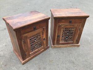 Pair Jali Bedside Tables