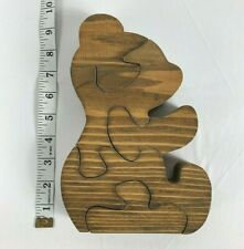 Hand Made 5 Piece Wooden Teddy Bear Puzzle