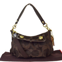 Auth Coach Signature 13833 2WAY Canvas,Leather Shoulder Bag Brown 03GB528