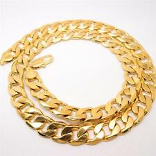 "24"" 12mm 24k yellow Solid gold filled men's necklace curb chain jewelry (STAMPED"