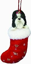SHIH TZU Black White Dog Santa's Little Pals Christmas Stocking Ornament