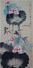 "Excellent Chinese 100% Hand Painting & Scroll ""Lotus & Birds"" By Wang Xuetao王雪涛B"