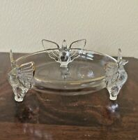 """JEANETTE 7"""" Dove Footed Bowl Clear Depression Glass Gold Trim 3 Birds Vintage"""