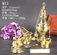 Brass Censer Incense Burner with Bell and Boat for Church M11