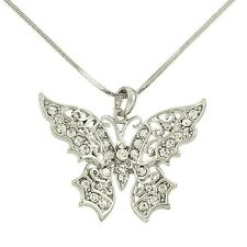 "Butterfly Charm Pendant Fashionable Necklace - Sparkling Crystal - 17"" Chain"