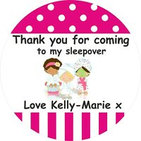 12 Personalised Sleepover Party Stickers With Party Bags Favours,Girls Night etc