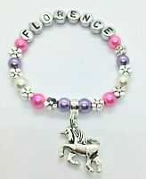Personalised UNICORN bracelet kids girls childs adults gift bag/tag 30+ colours