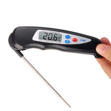 Klappbarer Digital essen kochen Fleisch Thermometer Metall Sonde BBQ Grill NEU