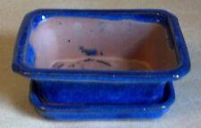 "Lovely Bonsai Pot & Attached Saucer,  Small, 4"" long, NEW, Blue"
