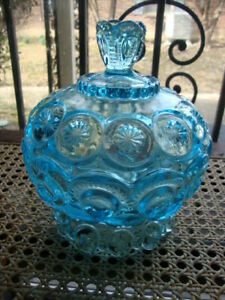 Antique Vtg EAPG Moon Stars Empoli Blue Glass Lidded Candy Dish Footed Bowl