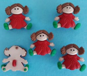 RAGDOLL - Rag Doll Toy Children Girl Red Christmas Dress It Up Craft Buttons