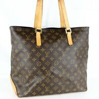 LOUIS VUITTON CABAS MEZZO Shoulder Tote Bag Purse Monogram M51151 Brown