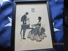 "Victorian Shadow Silhouette Vintage Deco Picture 7 1/2 z 5 1/2"" Piano Player"