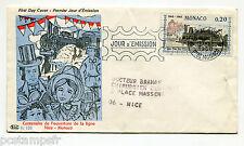 MONACO 1968 TP 752, FDC PREMIER JOUR, TRAIN, PUB VEYBIROL au verso, LOCOMOTIVE
