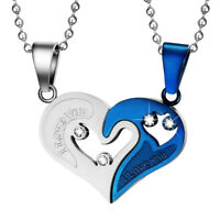New His and Hers Stainless Steel I Love You Heart Couple Pendant Necklace