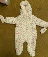 Mamas and Papas baby girl snowsuit pram suit size 3-6 months Excellent Condition