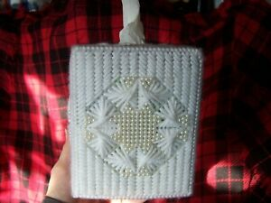 SQUARE TISSUE BOX CUBE COVER, HAND CRAFTED with PEARLS _ NEW