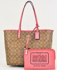 Coach Signature Reversible PVC City Tote Handbag Pouch Khaki Strawberry F36658