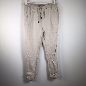 "Academy Brand Mens Pants Size 34 W32-36"" Stone Beige Linen Elastic Waist Jogger"