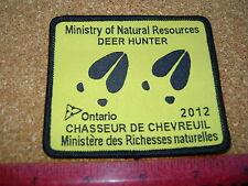 2012 ONTARIO MNR DEER HUNTING PATCH badge,flash,crest,moose,bear,elk,Canadian
