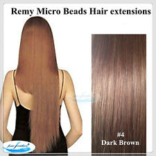 """20"""" Indian Remy Micro Bead I Tip Hair extension #4 Chestnut Brown Double Drawn"""