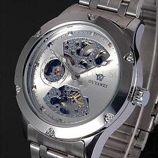 New Skeleton Analog Mens Mechanical Automatic Wrist Steel Buisness Watch S71