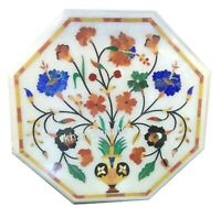 14 Inches Colorful Flower Art Inlay Bed End Table Top Marble Patio Coffee Table