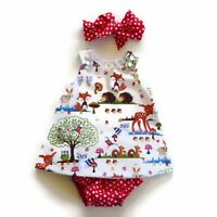 NWT Girls size 6 Months Precious RED Forest 3 Piece Dress Bloomer Bow Outfit 6M