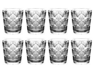 QG 13 oz. Diamond Cut Pattern Clear Smoke Grey Acrylic Plastic Tumbler Set of 8