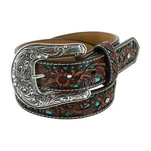 New Ariat Girl's Western Belt with Turquoise Inlays