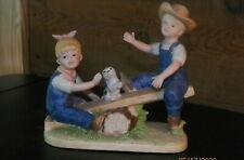1985 Denim Days #8827 Homco Figurine Boy & Girl