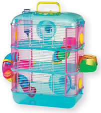 Lazy Bones Hamster Cage Blue Three Storey Cage With Tubes & Tunnels