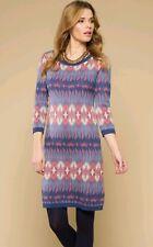 Monsoon Isla Ikat Knitted Jumper Dress Tunic Boho Uk Small Bnwt Multi Coloured