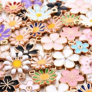 40pcs Assorted Gold Plated Enamel Flower Charms Pendant DIY for Jewelry Making !