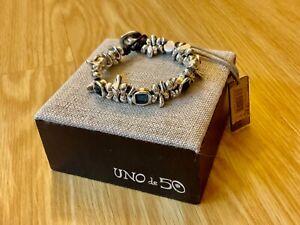 "NWT Uno de 50 Silver-plated/Blue Crystal Bracelet ""Jejewel"""