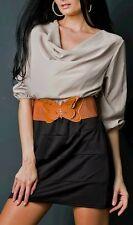 SeXy Miss Damen Wasserfall Mini Kleid Pencil Gürtel 34/36/38 beige schwarz TOP