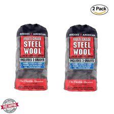 2 Rhodes American Steel Wool Multi Grade Assorted Course #3 Medium #0 Fine #000