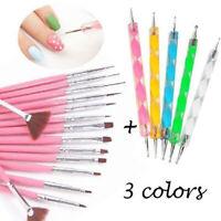 20 pcs Nail Art Gel Design Pen Painting Polish Brush Dotting Drawing Tools Set _