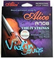 Alice A708 Violin Strings - E-1st Steel Core A-2nd D-3rd G-4th Nylon Core